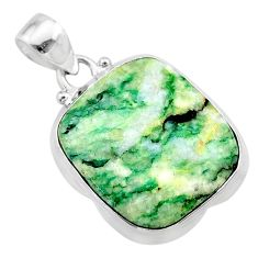 17.42cts natural green mariposite 925 sterling silver pendant jewelry t22696