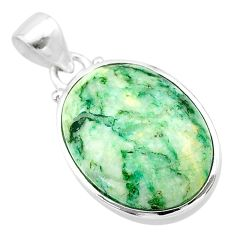 16.87cts natural green mariposite 925 sterling silver pendant jewelry t22701