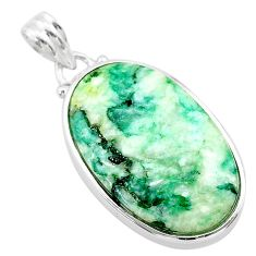 19.57cts natural green mariposite 925 sterling silver pendant jewelry t22707