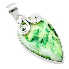 15.55cts natural green mariposite 925 sterling silver pendant jewelry t22709