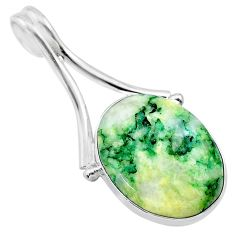 15.91cts natural green mariposite 925 sterling silver pendant jewelry t22710