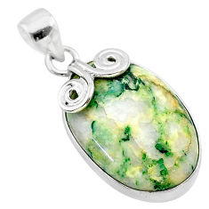 18.15cts natural green mariposite 925 sterling silver pendant jewelry t22718