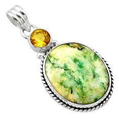 16.54cts natural green mariposite citrine 925 sterling silver pendant t22681