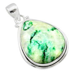 19.72cts natural green mariposite pear 925 sterling silver pendant t22706
