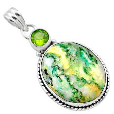 19.27cts natural green mariposite peridot 925 sterling silver pendant t22699