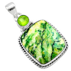 21.20cts natural green mariposite peridot 925 sterling silver pendant t22702