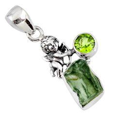 6.15cts natural green moldavite (genuine czech) 925 silver angel pendant r57206