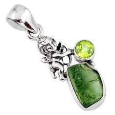 6.21cts natural green moldavite (genuine czech) 925 silver angel pendant r57207