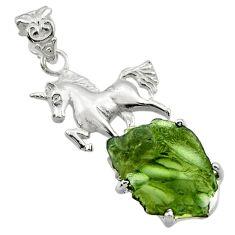 11.02cts natural green moldavite (genuine czech) 925 silver horse pendant r29368