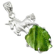 11.66cts natural green moldavite (genuine czech) 925 silver horse pendant r29379