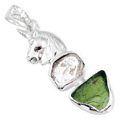 10.23cts natural green moldavite (genuine czech) 925 silver horse pendant r56982