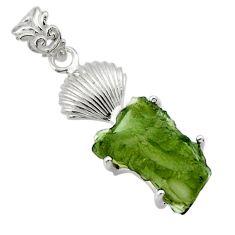 9.05cts natural green moldavite (genuine czech) 925 silver pendant r29371