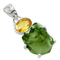 9.39cts natural green moldavite (genuine czech) 925 silver pendant r29382