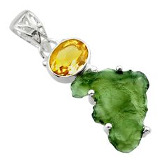 9.37cts natural green moldavite (genuine czech) 925 silver pendant r29387