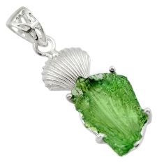 9.98cts natural green moldavite (genuine czech) 925 silver pendant r29394