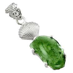 9.18cts natural green moldavite (genuine czech) 925 silver pendant r29398