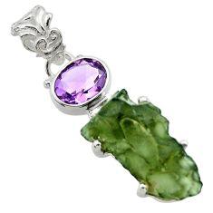 9.61cts natural green moldavite (genuine czech) 925 silver pendant r29402