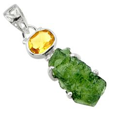 9.61cts natural green moldavite (genuine czech) 925 silver pendant r29405