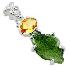 10.32cts natural green moldavite (genuine czech) 925 silver pendant r29420