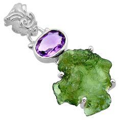 10.30cts natural green moldavite (genuine czech) 925 silver pendant r29421