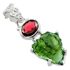 11.25cts natural green moldavite (genuine czech) 925 silver pendant r29422