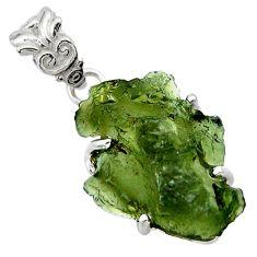 10.58cts natural green moldavite (genuine czech) 925 silver pendant r29548