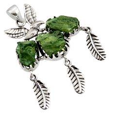 21.07cts natural green moldavite (genuine czech) 925 silver pendant r44437