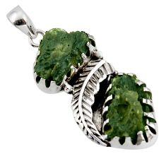 18.61cts natural green moldavite (genuine czech) 925 silver pendant r44438