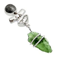 17.02cts natural green moldavite (genuine czech) 925 silver pendant r44439