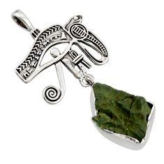 11.20cts natural green moldavite (genuine czech) 925 silver pendant r44440
