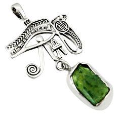 6.79cts natural green moldavite (genuine czech) 925 silver pendant r44454