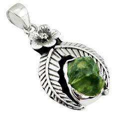 7.07cts natural green moldavite (genuine czech) 925 silver pendant r44455