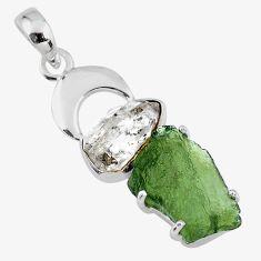 13.15cts natural green moldavite (genuine czech) 925 silver pendant r57351