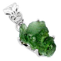 9.05cts natural green moldavite (genuine czech) 925 silver pendant r71781