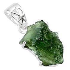 8.70cts natural green moldavite (genuine czech) 925 silver pendant r71783