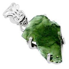 9.05cts natural green moldavite (genuine czech) 925 silver pendant r71786