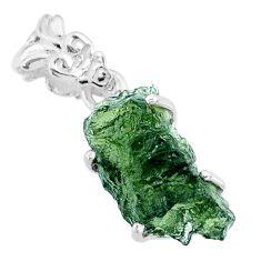 8.48cts natural green moldavite (genuine czech) 925 silver pendant r71794