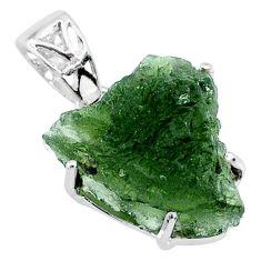 11.05cts natural green moldavite (genuine czech) 925 silver pendant r71797