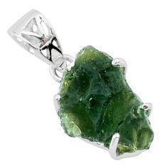 9.41cts natural green moldavite (genuine czech) 925 silver pendant r71844