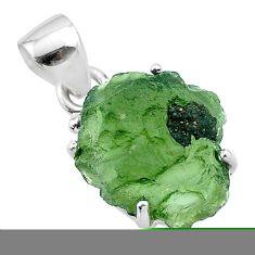 7.23cts natural green moldavite (genuine czech) fancy 925 silver pendant t49967