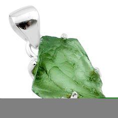 5.60cts natural green moldavite (genuine czech) fancy 925 silver pendant t49972