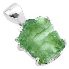 6.72cts natural green moldavite (genuine czech) fancy 925 silver pendant t49990