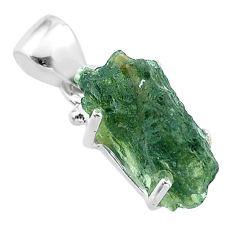 6.65cts natural green moldavite (genuine czech) fancy 925 silver pendant t49995