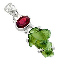 9.18cts natural green moldavite (genuine czech) garnet 925 silver pendant r29393