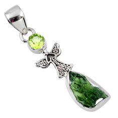 4.89cts natural green moldavite (genuine czech) peridot silver pendant r57174