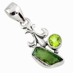 4.26cts natural green moldavite (genuine czech) peridot silver pendant r57194