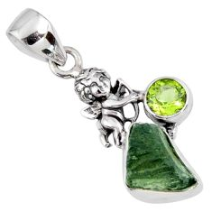 5.80cts natural green moldavite (genuine czech) silver angel pendant r57180