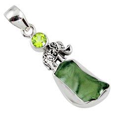6.88cts natural green moldavite (genuine czech) silver elephant pendant r57139
