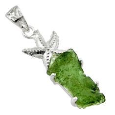 9.72cts natural green moldavite (genuine czech) silver star fish pendant r29366