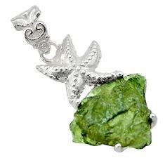9.72cts natural green moldavite (genuine czech) silver star fish pendant r29369